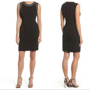 Vince Camuto Bead Embellished Crepe Shift Dress